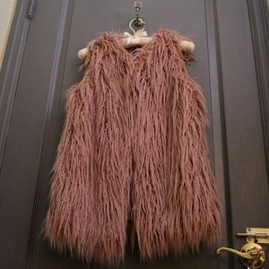Dusty Rose Pink Fur Vest